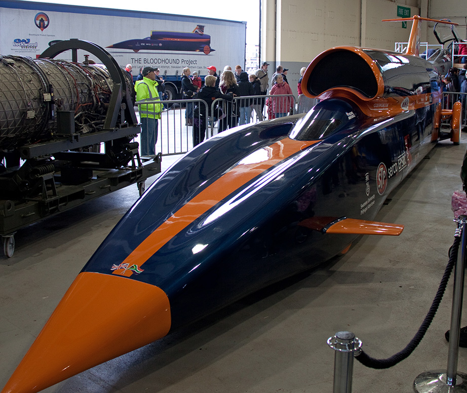 Humble temporary buildings mix with supersonic Bloodhound and champion racing drivers